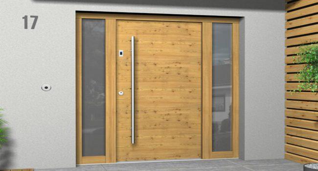 Haustüre Holzoptik mit seitlichen Glaselementen